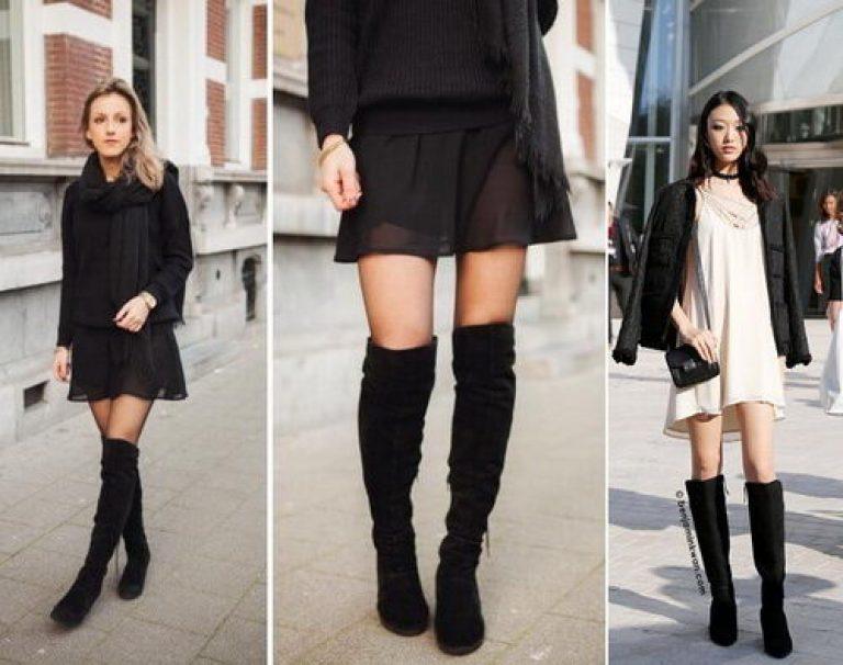 Замшевые ботфорты без каблука, актуальные образы на каждый день