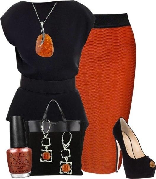 Сочетание с оранжевым