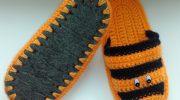 Изготовление тапочек крючком на войлочной подошве, варианты декора